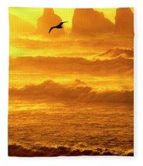Sunset Sea Stacks Sea Gull Bandon Oregon Fleece Blanket