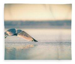 Sunset Seagull Takeoffs Fleece Blanket