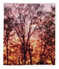 Sunset Peeking Through The Trees Fleece Blanket