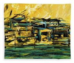Sunset Showdown - Downtown Cityscape Art Fleece Blanket
