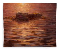Sea Otters Floating With Kelp At Sunset - Coastal Decor - Ocean Theme - Beach Art Fleece Blanket