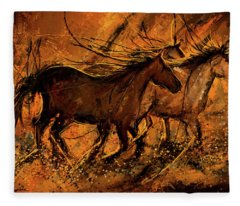 Sunset Stride - Horses In The Wild Sepia Painting Fleece Blanket