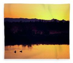 Sunset Swim Fleece Blanket