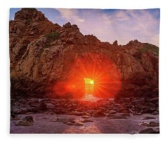 Sunset Through  Fleece Blanket