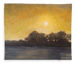 Sunset Through The Fog Fleece Blanket