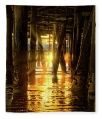 Sunset Through The Pier Fleece Blanket