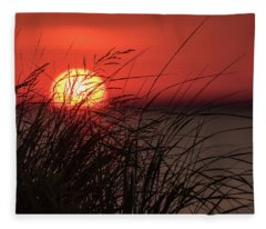 Sunset Through The Reeds Lavallette Nj Fleece Blanket