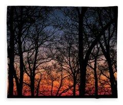 Sunset Through The Trees Fleece Blanket
