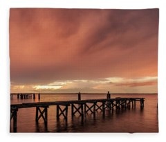 Sunset Thru Storm Clouds Fleece Blanket