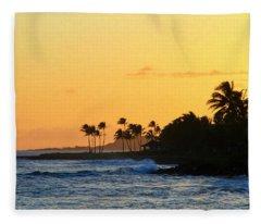 Sunset Time In The Tropics Fleece Blanket