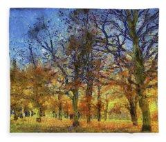 Sunset Trees Art Fleece Blanket
