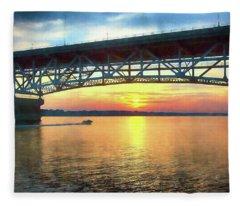 Sunset Under The Coleman Bridge Fleece Blanket