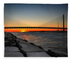 Sunset Under The Indian River Inlet Bridge Fleece Blanket