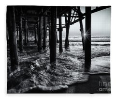 Sunset Under The Santa Monica Pier Fleece Blanket