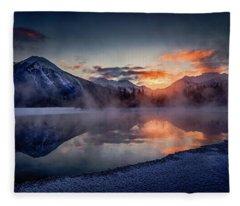 Sunset, Vermilion Lakes Fleece Blanket