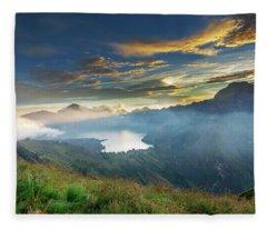 Sunset View From Mt Rinjani Crater Fleece Blanket