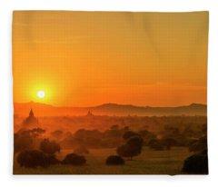 Sunset View Of Bagan Pagoda Fleece Blanket