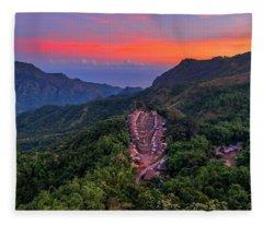 Fleece Blanket featuring the photograph Sunset View Of Bena Tribal Village - Flores, Indonesia by Pradeep Raja PRINTS