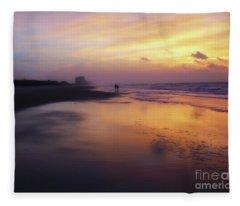 Sunset Walk On Myrtle Beach Fleece Blanket
