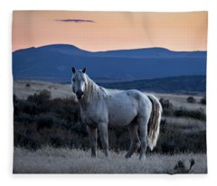 Sunset With Wild Stallion Tripod In Sand Wash Basin Fleece Blanket