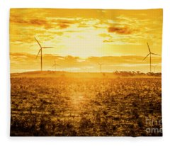 Sunsets And Golden Turbines Fleece Blanket