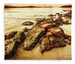 Sunsets And Sea Stones Fleece Blanket