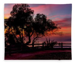 Sunset Silhouettes From Palisades Park Fleece Blanket