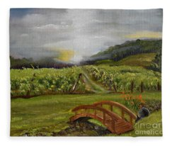 Sunshine Bridge At The Cartecay Vineyard - Ellijay Ga - Vintner's Choice Fleece Blanket