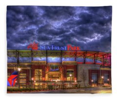 Suntrust Park Unfinished Atlanta Braves Baseball Art Fleece Blanket