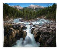 Sunwapta Falls In Jasper National Park Fleece Blanket