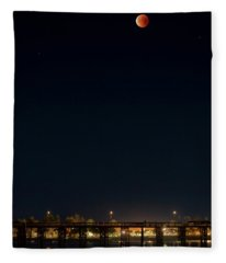 Super Blood Moon Over Ventura, California Pier Fleece Blanket