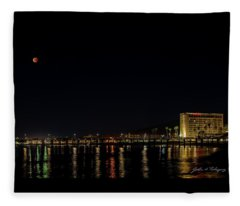 Super Blue Blood Moon Over Ventura, California Pier  Fleece Blanket