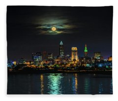 Super Full Moon Over Cleveland Fleece Blanket