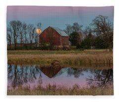 Super Moon And Barn Series #1 Fleece Blanket
