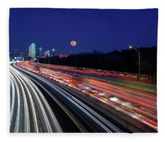 Super Moon And Dallas Texas Skyline Fleece Blanket