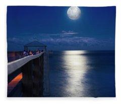 Super Moon At Juno Fleece Blanket