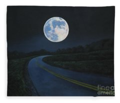 Super Moon At The End Of The Road Fleece Blanket