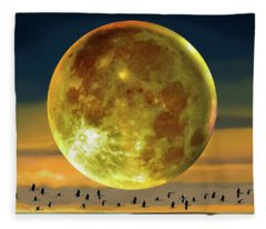 Super Moon Over November Fleece Blanket