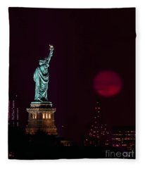 Super Moon Rising And The Statue Of Liberty Fleece Blanket