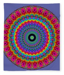 Super Rainbow Mandala Fleece Blanket