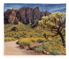 Superstition Mountain Cholla Fleece Blanket