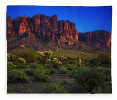 Superstition Mountain Sunset Fleece Blanket