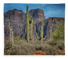 Superstition Mountain With Cactus Fleece Blanket