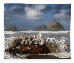 Surf And Three Arch Rocks Fleece Blanket