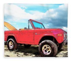 Surf Bronco Beyond The 4 Wheel Drive Only Sign Padre Island Fleece Blanket