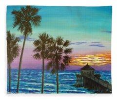 Surf City Sunset Fleece Blanket