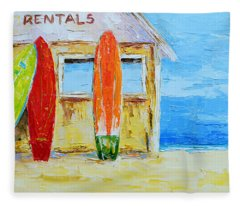 Surf Board Rental Shack At The Beach - Modern Impressionist Palette Knife Work Fleece Blanket