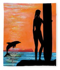 Surfer Girl With Dolphin Fleece Blanket