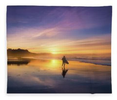 Surfer In Beach At Sunset Fleece Blanket