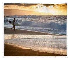 Surfer On Beach Fleece Blanket